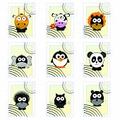 Post Mark With Funny Animals Vector Illustration