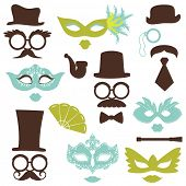 Retro Party set - Glasses, hats, lips, mustaches, masks - for design, photo booth, scrapbook in vect