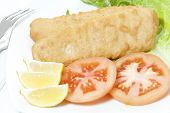 foto of hake  - Delicious breaded hake fillets with tomato garnish - JPG
