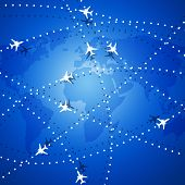 picture of transcontinental  - Aviation background with many planes over the map - JPG