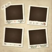 foto of  photo  - Scrap set of cute vector retro floral photo frames - JPG