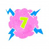 retro cartoon thundercloud symbol with number seven