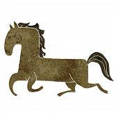 retro cartoon prancing horse