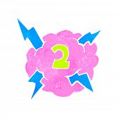 retro cartoon thundercloud symbol with number two