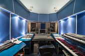 MOSCOW - DEC 25: Empty control room with music equipment in Recording Studio Nautilus on December 25