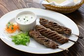 ground lamb kebab with flat bread