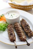 picture of flat-bread  - ground lamb kebab with flat bread - JPG
