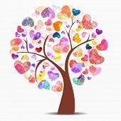 image of congratulation  - Love tree with colorful glossy hearts - JPG