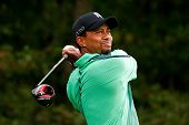 NORTON, MA-SEP 1: Tiger Woods tees off the fourth hole during the third round at the Deutsche Bank C