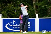 NORTON, MA-SEP 1: Roberto Castro tees off the fifth hole during the third round at the Deutsche Bank