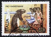 ITALY - CIRCA 1979: a stamp printed in Italy promotes solidarity with lepers and care for them. Ital