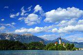 Panoramic view of Bled Lake, Slovenia, Europe