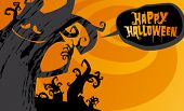 Happy halloween background, vector illustration.