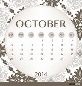 2014 calendar, vintage calendar template for October. Vector illustration.