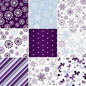 picture of lilas  - Collection seamless pastel christmas patterns with snowflakes butterflies and strips  - JPG