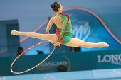 KIEV, UKRAINE - AUGUST 28:  Senyue Deng of China in action during the 32nd Rhythmic Gymnastics World Championships in Kiev, Ukraine on August 28, 2013