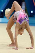 KIEV, UKRAINE - AUGUST 28: Yeon Jae Son of Korea in action during the 32nd Rhythmic Gymnastics World