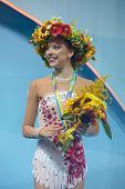 KIEV, UKRAINE - AUGUST 29: Melitina Staniouta of Belarus win bronze during the 32nd Rhythmic Gymnast