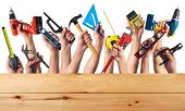 foto of worker  - DIY tools set collage - JPG