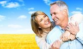 stock photo of grandpa  - Happy Senior couple portrait - JPG