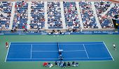 FLUSHING, NY-SEP 3: Novak Djokovic (SRB) (left) volleys the ball against Marcel Granollers (ESP) during round 4 of men's singles at the US Open on September 3, 2013 in Flushing, New York.