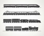 stock photo of railroad car  - Modern and vintage train silhouette collection - JPG