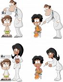 Cartoon doctors checking boy's weight on weighing scale and giving an injection in arm. Vaccinating,