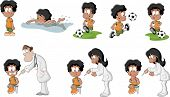 Cute playful cartoon black boy playing soccer, football, swimming, and getting an injection in arm.