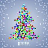 Christmas tree confetti background
