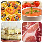 collage of some spanish dishes and tapas, such as paella, gazpacho, tortilla de patatas or jamon serrano