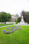 image of mozart  - Mozart Monument in Maria Theresien square Vienna Austria - JPG