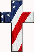 stock photo of superimpose  - US Flag superimposed on a Christian cross - JPG