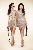Luxury. Two Trendy Women Walking In Shiny Bright Dresses poster