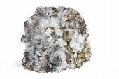 stock photo of iron pyrite  - Specimen of white calcite crystals and metallic brass - JPG