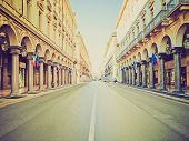 picture of turin  - Vintage looking Via Roma central high street in Turin Italy - JPG