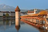 Chapel Bridge In Luzern In The Morning