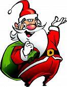 Happy smiling Santa Claus cartoon character carrying a bag