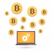 stock photo of open-source  - Illustration of open currency source money Bitcoin - JPG