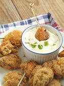 Fried Cornmeal-crusted Chicken Bites With Yogurt Herb Dressing.