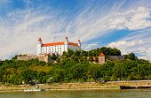 Medieval castle on the hill against the sky Bratislava Slovakia