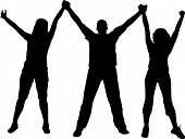 picture of person silhouette  - Young people celebrating with wide open hands - JPG