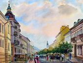 image of expressionism  - Watercolor painting of the cityscape of the Chernivtsi city Ukraine - JPG