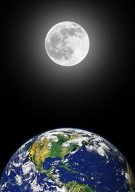 picture of planet earth  - Planet earth featuring the north american continent with a glowing full moon on the spring equinox in the distance over black sky background - JPG