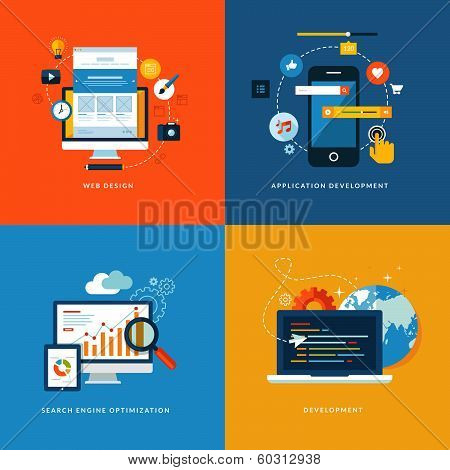 Set of flat design concept icons for web development poster