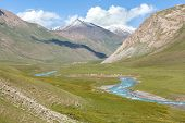 Blue river in mountains, Tien Shan