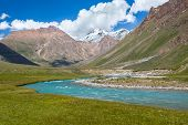 Blue river and snow peaks of Tien Shan mountains