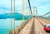 stock photo of tsing ma bridge  - Famous Tsing Ma bridge in Hong Kong