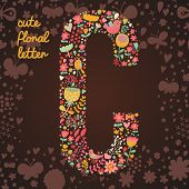 The letter C. Bright floral element of colorful alphabet made from birds, flowers, petals, hearts an
