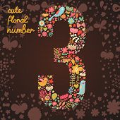 The number 3. Bright floral element of colorful alphabet made from birds, flowers, petals, hearts an