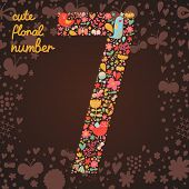 The number 7. Bright floral element of colorful alphabet made from birds, flowers, petals, hearts an